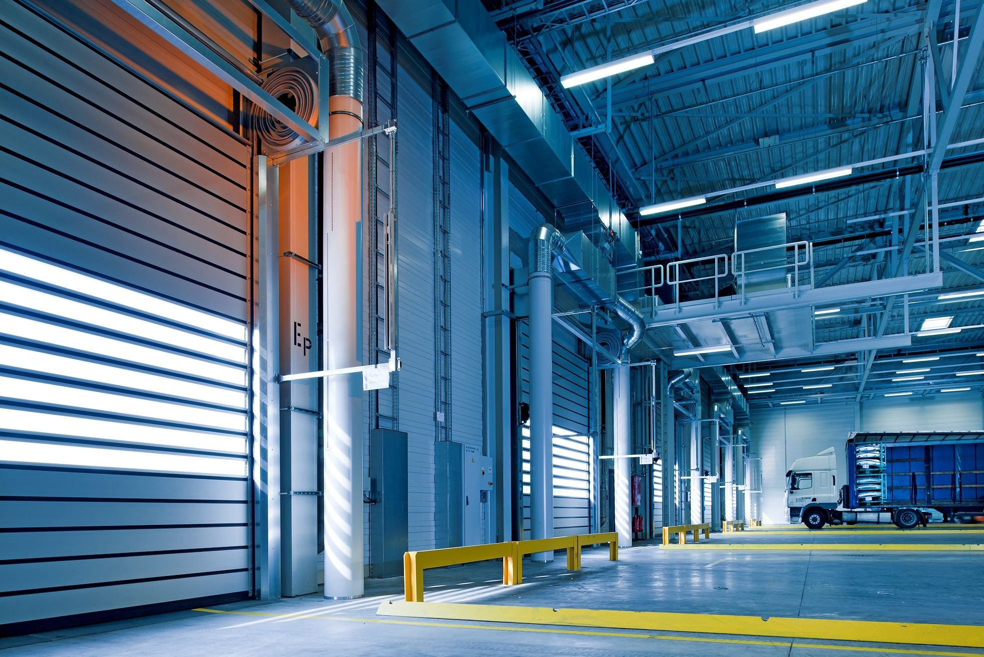 The interior of a warehouse loading and unloading bay